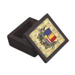 Bandera Belga-Americana del escudo Caja De Joyas De Calidad