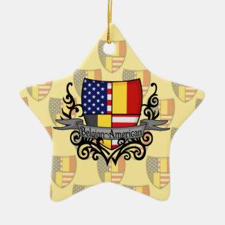 Bandera Belga-Americana del escudo Ornaments Para Arbol De Navidad