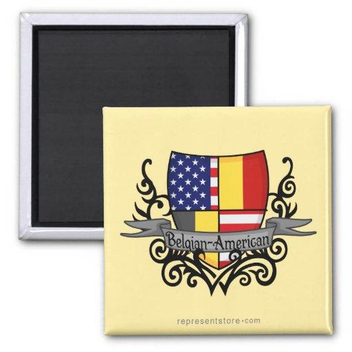 Bandera Belga-Americana del escudo Imanes