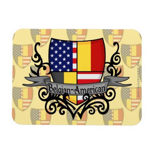 Bandera Belga-Americana del escudo Imanes Rectangulares