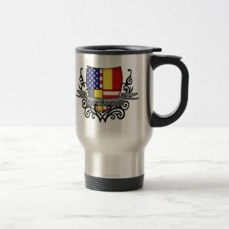 Bandera Belga-Americana del escudo Taza Térmica