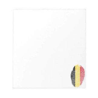 Bandera belga de la huella dactilar del tacto bloc de notas