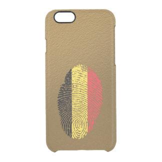 Bandera belga de la huella dactilar del tacto funda clear para iPhone 6/6S