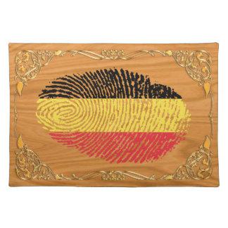Bandera belga de la huella dactilar del tacto mantel