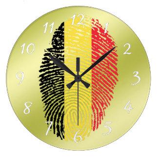 Bandera belga de la huella dactilar del tacto reloj redondo grande