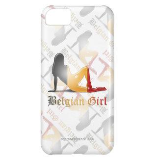 Bandera belga de la silueta del chica funda para iPhone 5C