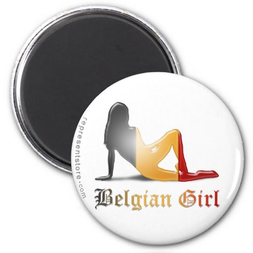 Bandera belga de la silueta del chica imán de frigorifico