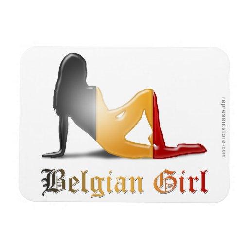 Bandera belga de la silueta del chica imán flexible