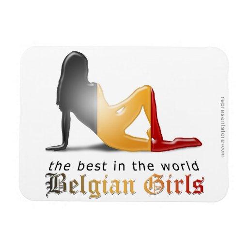 Bandera belga de la silueta del chica imán