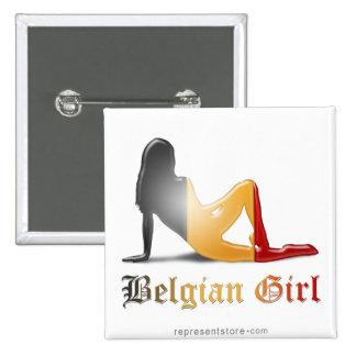 Bandera belga de la silueta del chica pin cuadrado