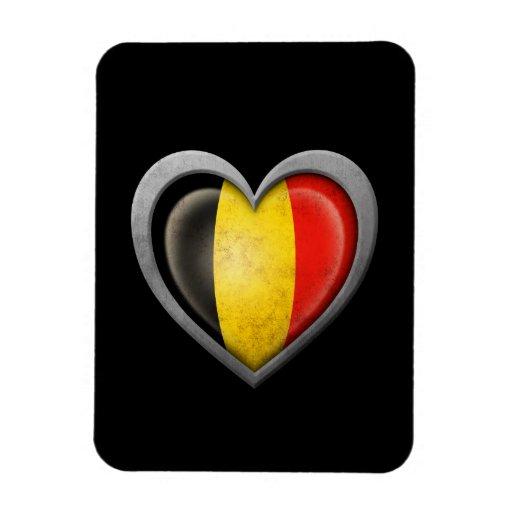 Bandera belga del corazón con efecto del metal imanes