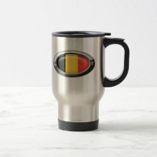 Bandera belga en el marco de acero tazas de café