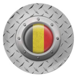 Bandera belga industrial con el gráfico de acero plato de cena