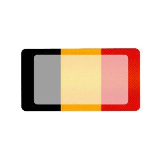 Bandera belga pelada moderna etiqueta de dirección