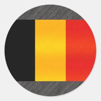 Bandera belga pelada moderna pegatina redonda