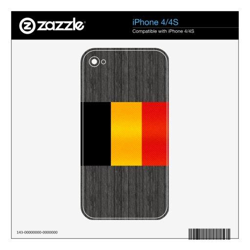 Bandera belga pelada moderna skins para eliPhone 4S