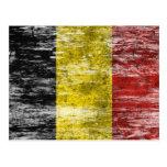 Bandera belga rascada y llevada tarjeta postal