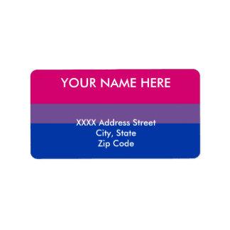 Bandera bisexual del orgullo etiqueta de dirección