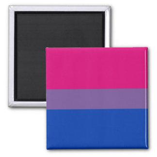 Bandera bisexual del orgullo imán cuadrado