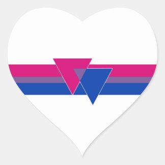 Bandera bisexual del orgullo pegatina en forma de corazón