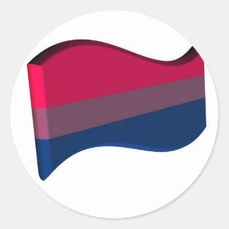 Bandera bisexual ondulada del orgullo 3D Pegatina Redonda