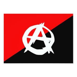 """Bandera blanca del anarquista y roja negra invitación 5"""" x 7"""""""
