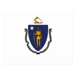 Bandera blanca del azul y del oro de Massachusetts Tarjeta Postal