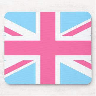 Bandera blanca y azul rosada de Union Jack Reino U Tapetes De Raton
