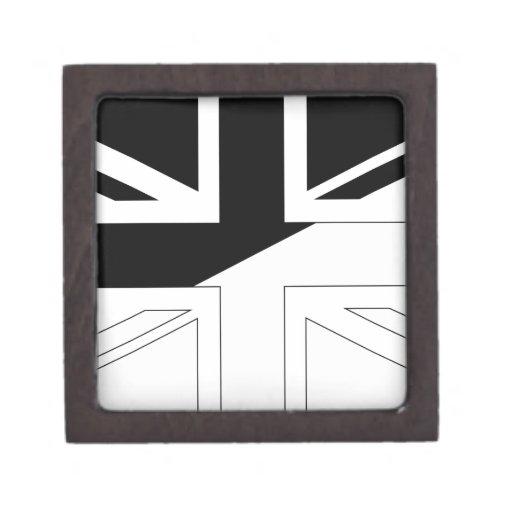 Bandera blanco y negro de Union Jack Británicos (R Caja De Recuerdo De Calidad