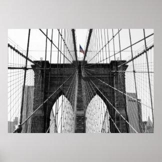 Bandera blanco y negro del puente de Brooklyn w/Co Poster