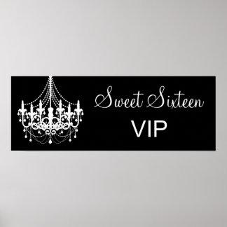 Bandera blanco y negro del VIP del dulce 16 de la Póster