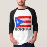 Bandera Boricua del vintage de Puerto Rico Camisas