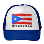 Bandera Boricua del vintage de Puerto Rico Gorras De Camionero