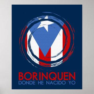 Bandera Borinquen de Puerto Rico Póster