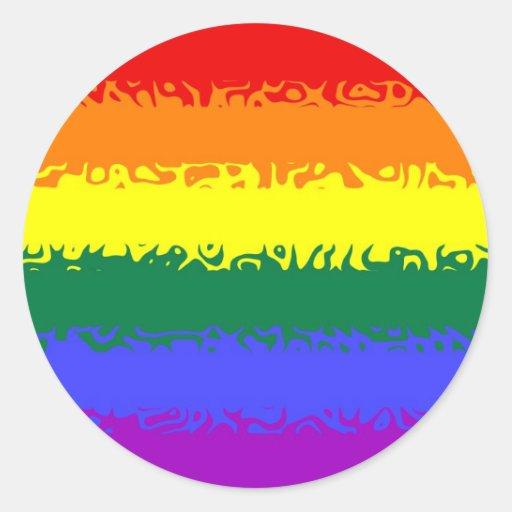 Bandera borrosa del arco iris pegatina redonda
