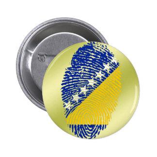 Bandera bosnio de la huella dactilar del tacto pin redondo de 2 pulgadas