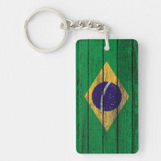Bandera brasileña con efecto de madera áspero del  llavero rectangular acrílico a doble cara