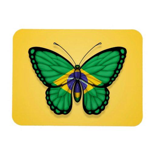 Bandera brasileña de la mariposa en amarillo imán
