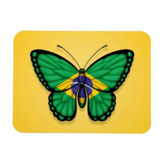 Bandera brasileña de la mariposa en amarillo imanes flexibles