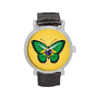 Bandera brasileña de la mariposa en amarillo reloj de mano