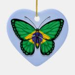 Bandera brasileña de la mariposa en azul adorno