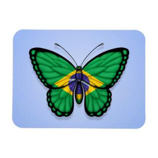 Bandera brasileña de la mariposa en azul imanes de vinilo