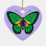 Bandera brasileña de la mariposa en púrpura adorno de reyes