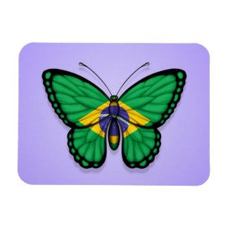 Bandera brasileña de la mariposa en púrpura imán flexible