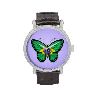 Bandera brasileña de la mariposa en púrpura reloj de mano