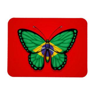 Bandera brasileña de la mariposa en rojo imanes