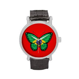 Bandera brasileña de la mariposa en rojo relojes de pulsera