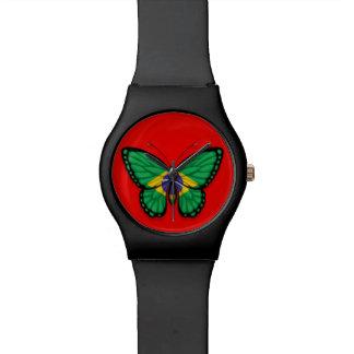 Bandera brasileña de la mariposa en rojo reloj
