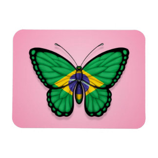 Bandera brasileña de la mariposa en rosa iman flexible