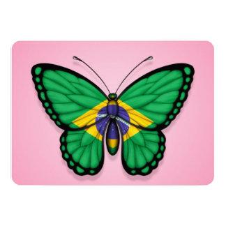 """Bandera brasileña de la mariposa en rosa invitación 5"""" x 7"""""""